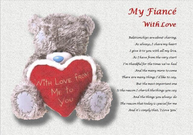 MY FIANCE WITH LOVE ( laminated gift) personalised poem
