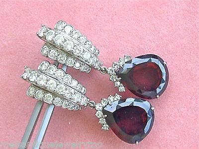 VINTAGE 3ctw DIAMOND 18ctw GARNET PEAR DROP CONVERTIBLE PLATINUM EARRINGS 1950