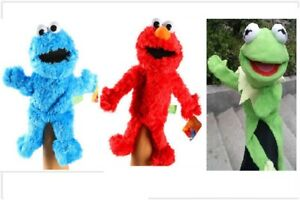 3PCS-Sesame-Street-Plush-Stuffed-Animal-Elmo-Cookie-Kermit-Frog-Hand-Puppet-Toy
