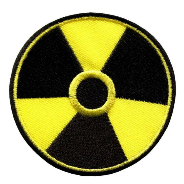 "RADIOACTIVE SYMBOL IRON ON PATCH 3"" Black Yellow Punk Biker Embroidered Applique"