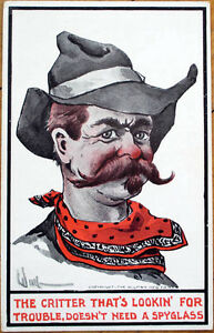 1912-Wall-Artist-Signed-Postcard-Cowboy-Western-Ullman-Mfg-Co