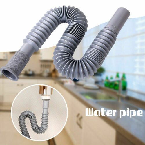 Bathroom Kitchen Flexible Tube Pipe Sink Basin Water S-Trap Drain Hose 31-80cm