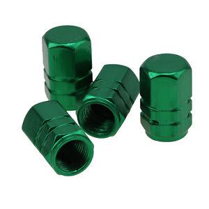 4 Pcs Green Aluminum Tpms Tyre Tire Valve Stem Caps For