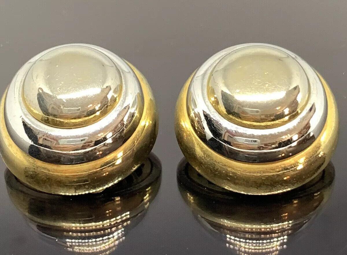 Vintage Lanvin Paris Couture Clip Earrings 2 Tone… - image 1