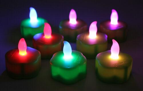 Set ELAMBIA Flammenlose Teelichter in Blumenform mit Farbwechselfunktion 8-tlg