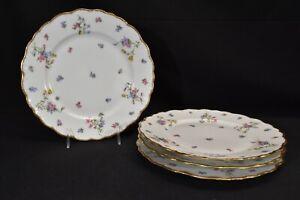 Lanternier-Limoges-France-Violets-BWD29-Set-of-4-Dinner-Plates
