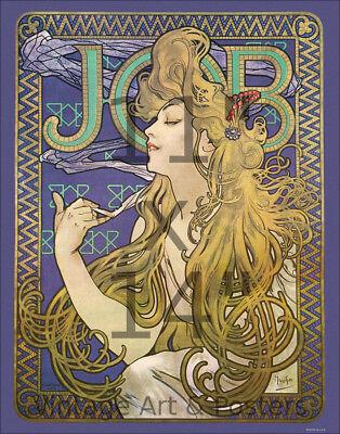 Alphonse Mucha , Job, Cigarettes (1896) , 11x14 inch Vintage Art Nouveau  Poster