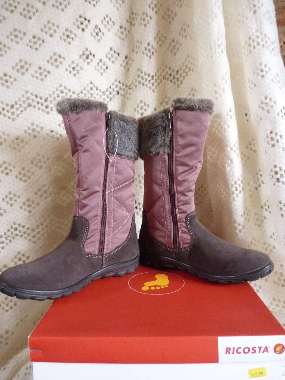 Ladies Ricosta Hayley Snow   Winter Boots Dusky pink Size UK 9   EU 43