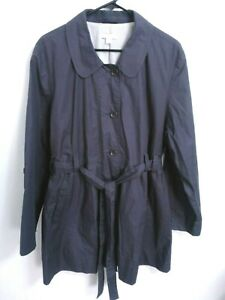 Garnet-Hill-Womens-Size-18-Gray-Cotton-Button-Up-Trench-Coat