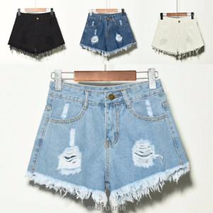 UK-Vintage-Ripped-Womens-High-Waist-Stonewash-Denim-Shorts-Jeans-Hot-Pants-6-22
