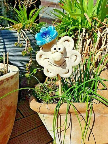 lustige Blume mit Blüte Gartenfigur Keramik Gartenstecker Gartendeko Dekofigur