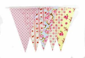 Bunting-20-Flags-Pastel-Shabby-Chic-10Mt-32ft-Flag-Red-Pink-Green-Vintage-Retro