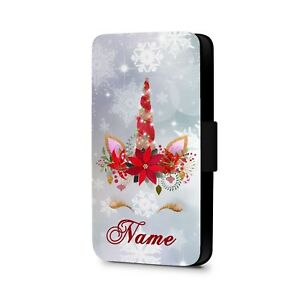 Personalised-Phone-case-Christmas-Unicorn-Faux-Leather-Flip-Phone-Case-Cover