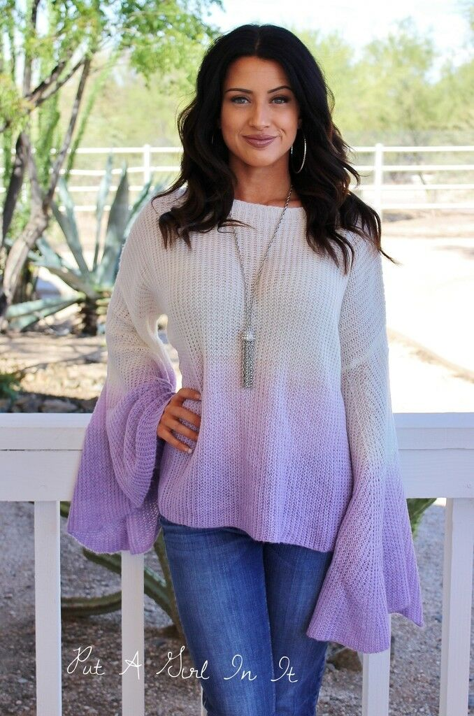 CREAM PURPLE LAVENDER OMBRE TIE DYED BOHO BELL SLEEVE CUTOUT SWEATER S M L