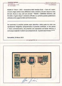 ITALIA-REGNO-CERTIFICATO-1921-CARTOLINA-PUBBLICITARIA-ANN-VENEZIA-GIULIA-RARA