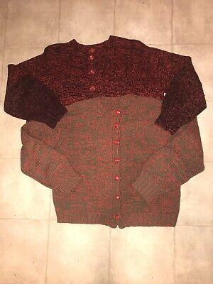 2 Vintage Wool Cardigans Handmade RedBlack & RedGreen   eBay