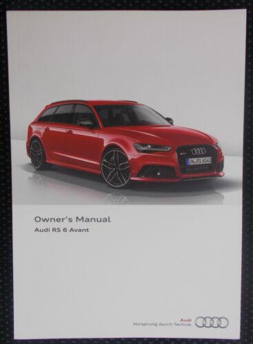 12//2014 EDITION GENUINE AUDI RS6 AVANT C7 OWNERS MANUAL HANDBOOK