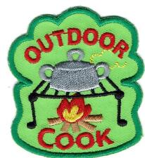Girl Boy Over  A Fire OUTDOOR COOK Cooking Patches Crest Badge SCOUT GUIDE camp