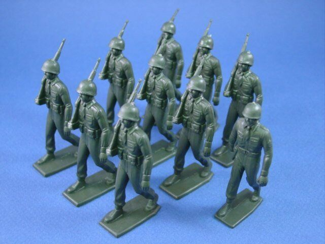 MARX Training Camp Playset Marching US Army Set 10 Recast 60MM Figures FREE SHIP