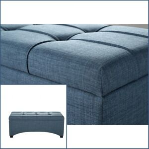 Awesome Details About Blue Fabric Upholstered Transitional Tufted Seat Storage Bench Ottoman Accent Pdpeps Interior Chair Design Pdpepsorg