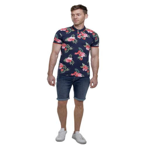 Mens Polo Shirt Floral Hawaiian Cotton Casual Top T-Shirt Broken Standard