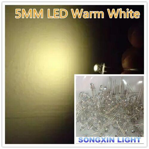 100pcs//Lot Transparent Round 5mm 5 mm Warm White Light Emitting Diode LED