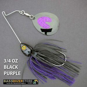 Bassdozer-spinnerbaits-SHORT-ARM-THUMPER-3-4-oz-BLACK-PURPLE-2-spinner-bait