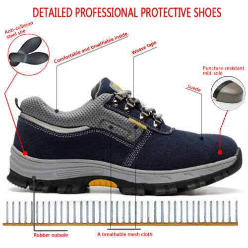 Men/'s Safety Shoes Steel Toe Breathable Work Boots Outdoor Hiking Climbing Shoes