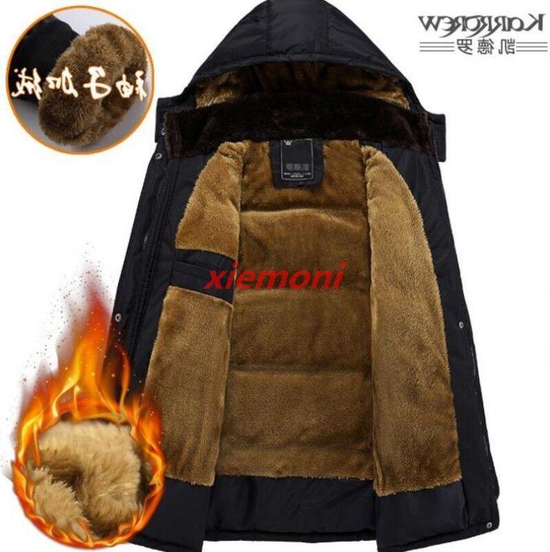 Parka à capuche pour hommes en hiver Manteau d hiver épais en laine polaire Outwear Jacket Pardessus