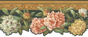 Wallpaper-Border-White-Pink-Yellow-Floral-on-Black-with-Wood-Trim