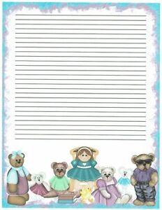 Teddy Bear Sleeping On The Moon Letterhead Stationery Paper 26 Sheets