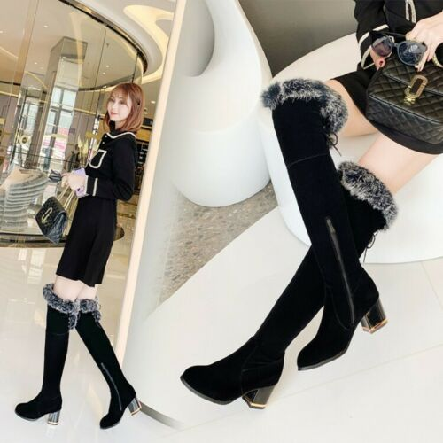 Details about  /Womens Round Toe Block Heel Over Knee High Thigh Boots Fur Trim Top Casual Shoes