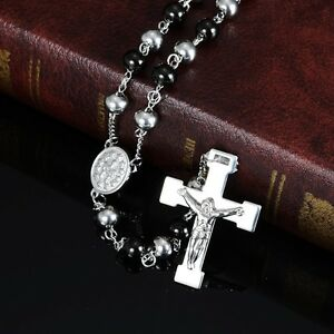 30-034-Stainless-Steel-Silver-Black-Beaded-Rosary-VIRGIN-MARY-JESUS-CROSS-Necklace