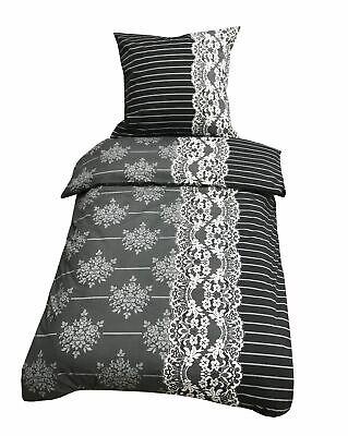 2 Teilige Bettwäsche 135x200cm Barock Grau Schwarz Baumwolle Renforce SchnäPpchenverkauf Zum Jahresende Bettwaren, -wäsche & Matratzen