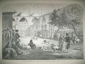 TURQUIE-CONSTANTINOPLE-KHAN-PERSAN-COMBAT-BELIERS-METRO-DE-LONDRES-GRAVURES-1866