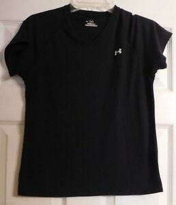 Women's Black Short Sleeve Under Armour Athletic Type Shirt Size SM Womens S