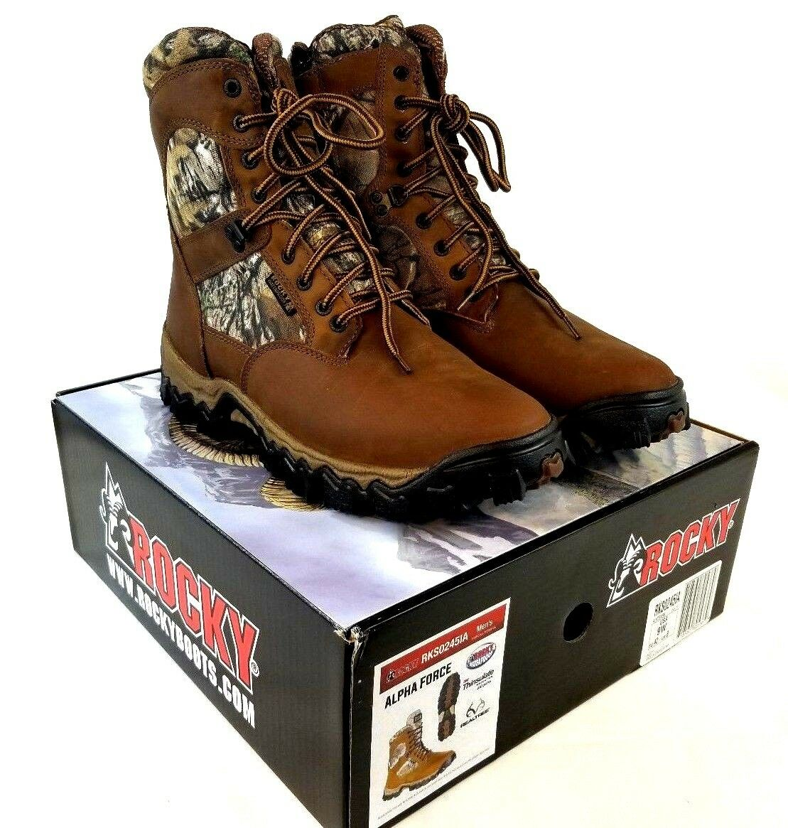 Rocky Men's Alpha Force Waterproof 400G Insulated Outdoor Camo Boots US 9W Z452