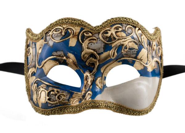 2019 Moda Maschera Veneziano Brighella Musica Carnevale Ballo Sera Gala Blu 1539 Vg20 Lustro Incantevole