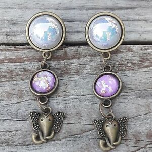 Pair-of-Bohemia-Elephant-Dangle-DOUBLE-FLARED-Acrylic-Gauges-Plugs-Tunnels-USA