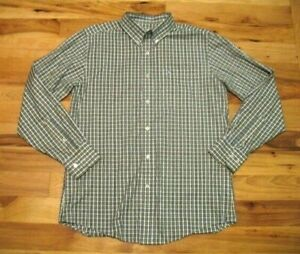 Southern-Tide-Green-Blue-Cotton-Classic-Fit-Long-Sleeve-Button-Up-Dress-Shirt-M