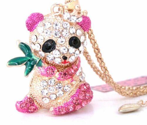 Betsey Johnson PANDA de cristal /& émail collier pendentif #116L
