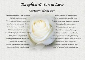 Image Is Loading Daughter Amp Son In Law Wedding Day Poem