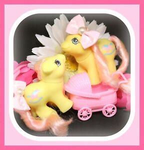 My-Little-Pony-MLP-G1-Vtg-BABY-Newborn-Twins-Milkweed-amp-Tumbleweed-Set