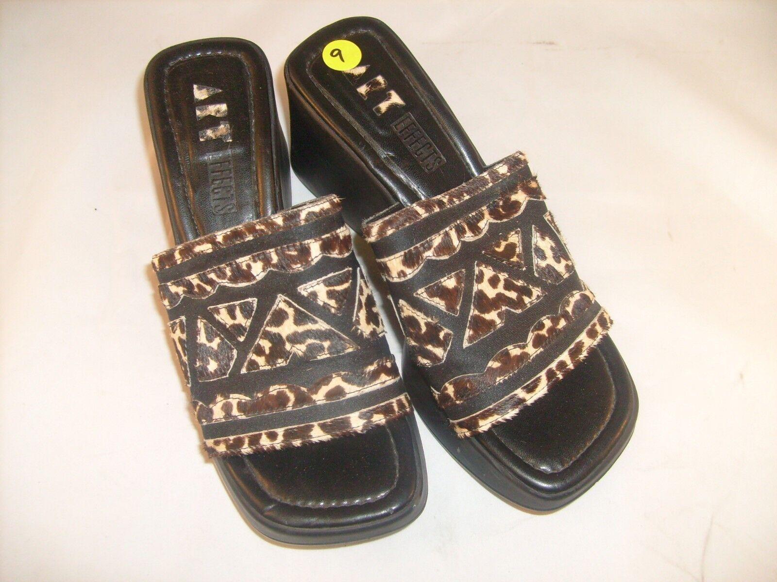 Women's Art Effects Wedge Leopard Heel Slide Sandal Shoe Leopard Wedge  Size 9 0f2cdc