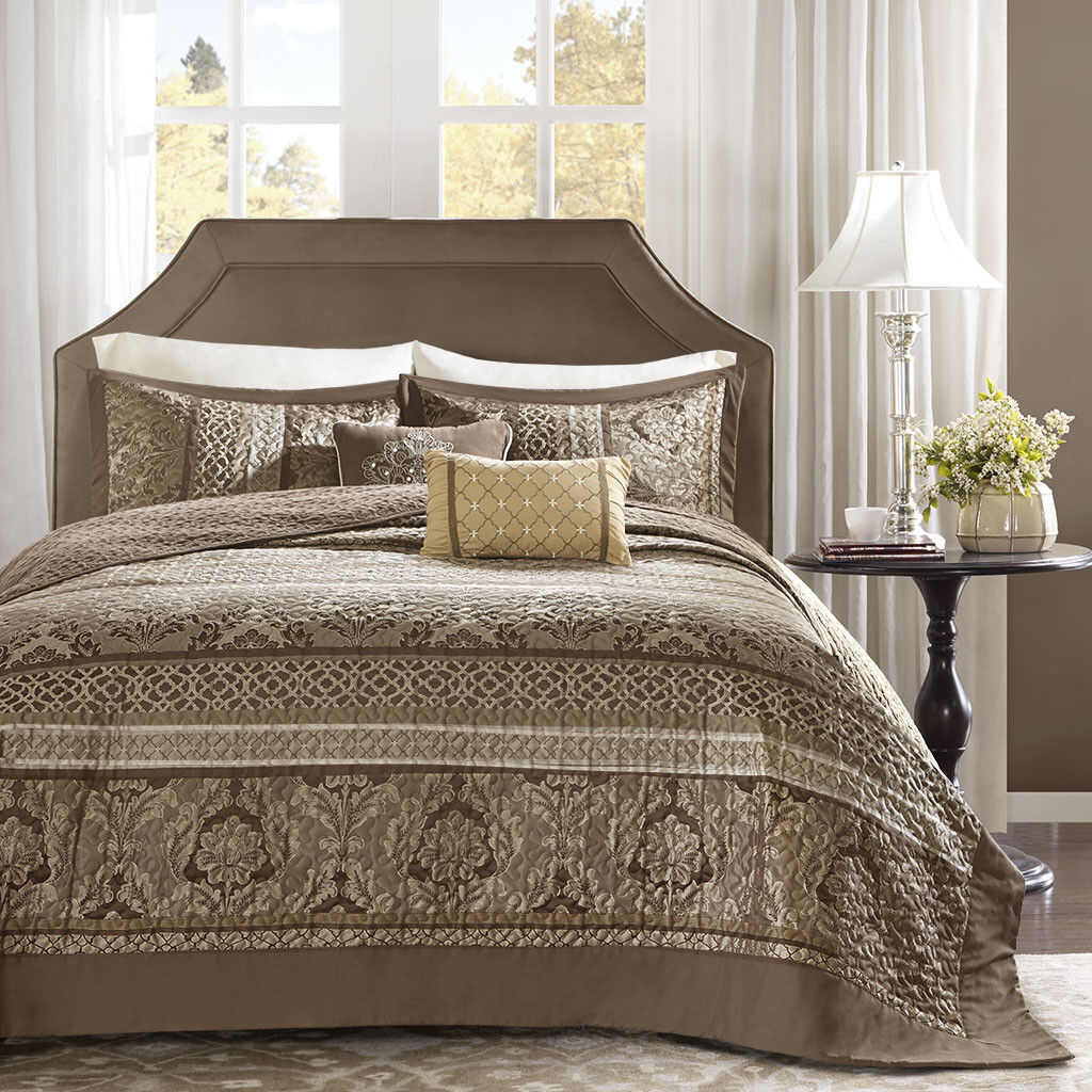 BEAUTIFUL XXX-L MODERN CHIC RICH ELEGANT Marrone oro TAUPE TAUPE TAUPE BEDSPREAD QUILT SET e3ddfb