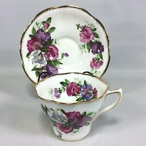 Sweet-Pea-Pink-Purple-Rosina-Bone-China-Tea-cup-and-Saucer-Set-made-in-England