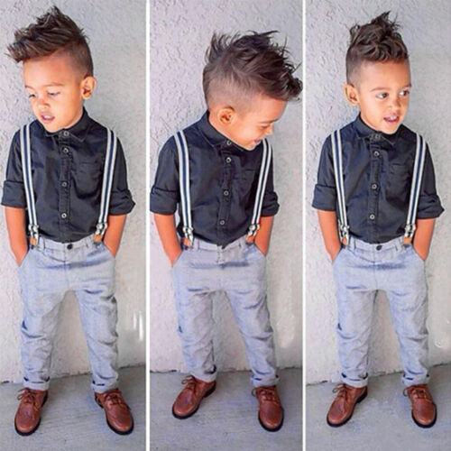Kids Baby Boys Casual Gentleman Formal Suit Shirt Blazer Coat Pants Outfits Set