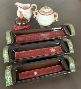 8-Piece-Vintage-Holiday-Christmas-Appetizer-Trays-Butter-Dish-Sugar-Creamer