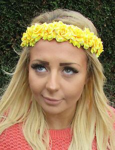 Yellow Rose Flower Garland Headband Hair Crown Band Festival Boho ... a0fda0ea680