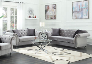 Details About NEW Traditional Living Room Couch Set   Tufted Gray  Microfiber Sofa Loveseat R74